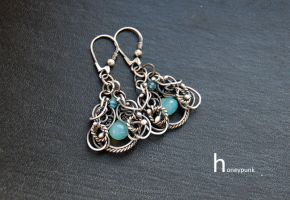 handmade earrings wire wrapped by honeypunk