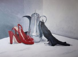 Still Life - Shoes and Teapot by Nenja-Black