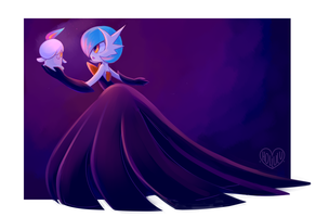 Litwick and Shiny Mega Gardevoir by Hollulu