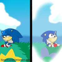 Sonic: then and now by RistarFruit