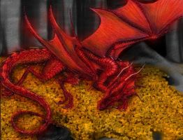Smaug Asleep by lynne
