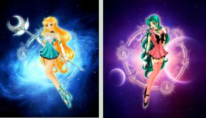 Sailor Galatea + Sailor Asami by bloona