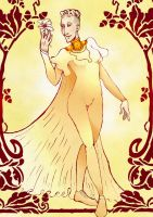 Fencer with Lily - art nouveau by hello-heydi