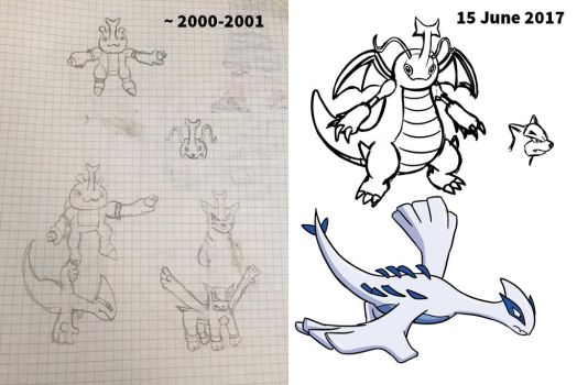 Before and After - Lugia and Pokemon Fusion by Shight