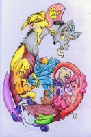 Discord And the Gang *COLOURED* by nekotigerfire
