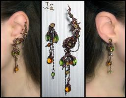 Ripe berries ear cuff and stud by JSjewelry