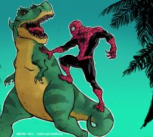 Superior Spider-Man vs a DINOSAUR by DirkPower