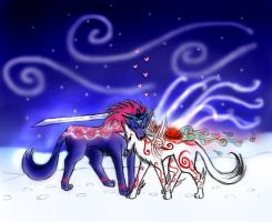 Oki x Ammy in the snow by Precious-Love