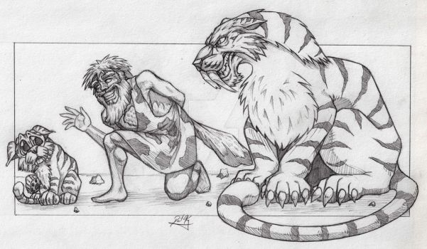 Caveman and sabretooth by superchickenn123
