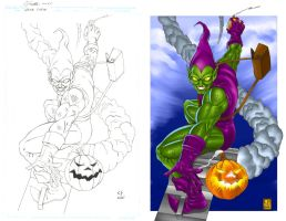 GREEN GOBLIN PENCILS and COLOR by daikkenaurora