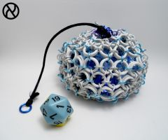 White Icosahedron Chainmaille Dicebag by Zeroignite