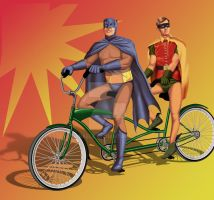 Batman and Robin on a tandem by araeld