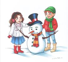 Ron and Hermione made a snowman! by Luisamd