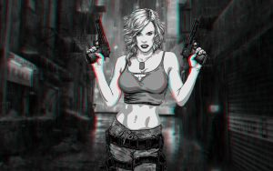 Girl With Guns  3-D conversion by MVRamsey