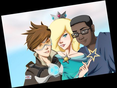 Selfie With Rosalina and Tracer (Commission) by MsArtGarden