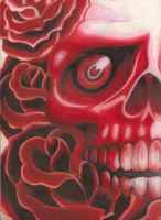 red skull and flowers by bigjbway23