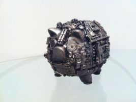 steampunk piggy bank by richardsymonsart
