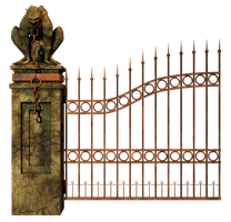 Graveyard Gate Left PNG Stock by Roys-Art