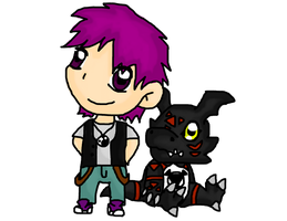 Hiroshi and Blackguilmon by tinttiyo