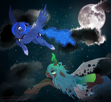 Princess Luna Vs Queen Chrysalis by StePandy