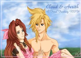 Cloud and Aerith by AGflower