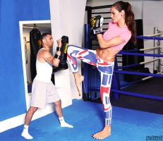 Tall model Izabel Goulart kickboxing by lowerrider
