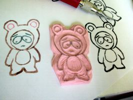 Butters in a bear costume rubber stamp by nezumish
