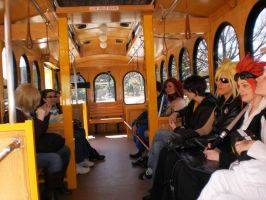 Cosplayers on a Trolley by DestructiveDoll