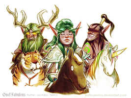 Malfurion, Tyrande and Illidan by Katmomma