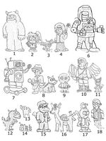 Retro Story Character Sketches by SuperAshBro
