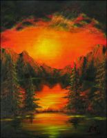 Sunset Oilpainting by JoannaMoory