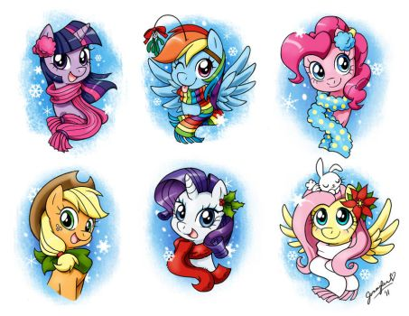 More Holiday Ponies by chibi-jen-hen