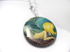 Blonde Mermaid - Pendant Necklace by sobeyondthis