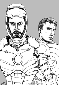 Iron Man and Captain America (lines) by cannorachan