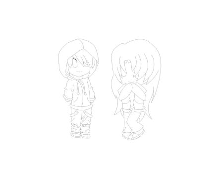 Chibi heroes- outline by Biged900