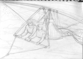 Merman and Parasailing Sketch by seawaterwitch