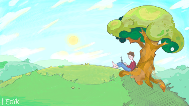Under the tree by ErikOu