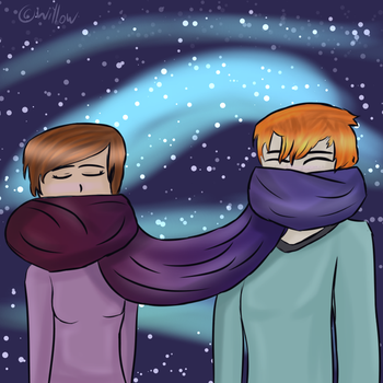 Carolline and nori sharing a scarf  by MysteriousWillowChan