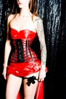 skeleton in red corset by AtelierSylpheCorsets