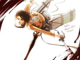 Attack on TITAN : Mikasa  Warm color by Xiiiwings