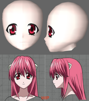 Nyu/Lucy Face WIP by cristle1235