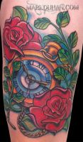 POCKET WATCH AND ROSES by amduhan