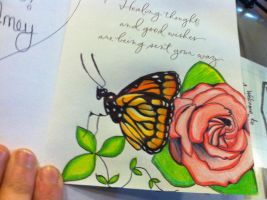 Butterfly/ Rose Doodle by Psych3d3lics
