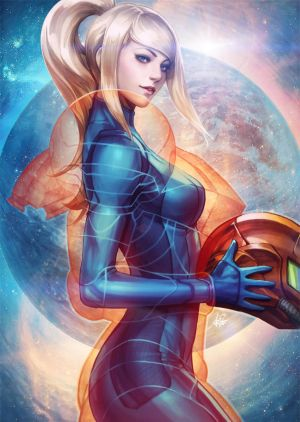 Samus Aran suit up by Artgerm