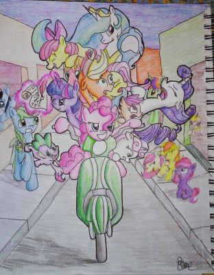 11 Ponies on a Scooter by PonyPoet21