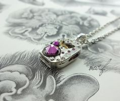 Steampunk Necklace Vintage Watch Movement Purple by dirtym0rf