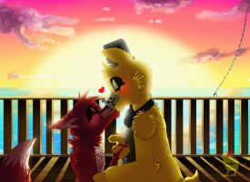 Kiss at the sunset [ Golden Freddy x Foxy ] by Hiyoko-little-chick