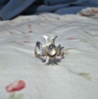 Sterling Silver Moonstone Ring by skiingmusician