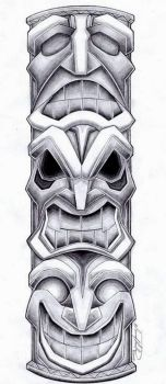 Totem Pole Tattoo Design by SpiderLAW