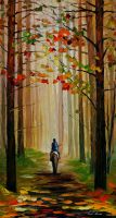 Stroll on the horse by Leonid Afremov by Leonidafremov